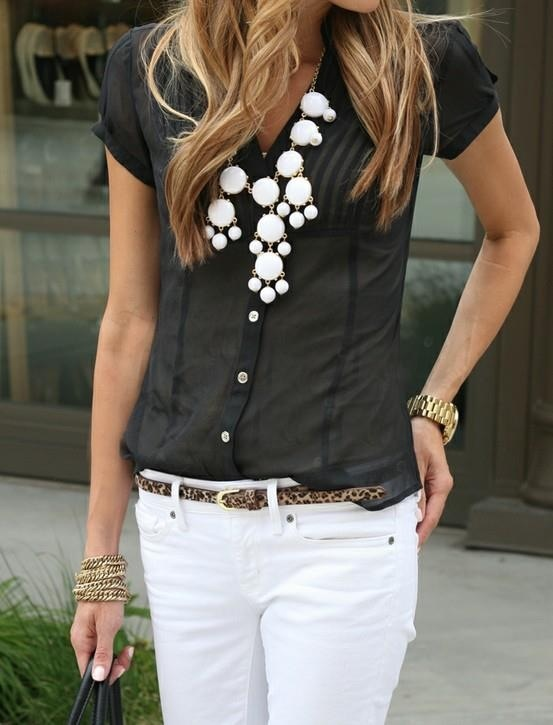 How To Wear White Jeans for Spring: white jeans with black top and leopard