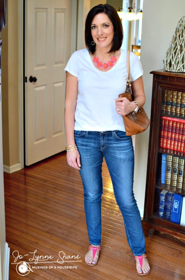 White T-Shirt with Jeans and Statement Necklace