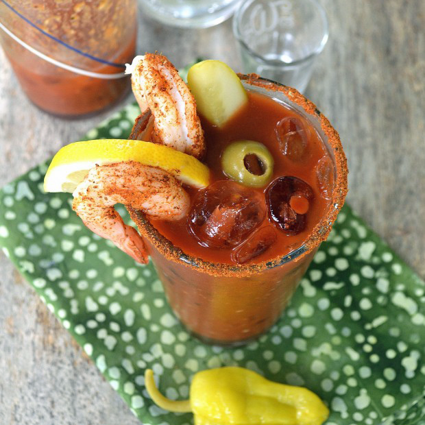 This is THE Ultimate Bloody Mary Recipe, exploding with flavor and practically a meal in itself. No bloody mary mix required.