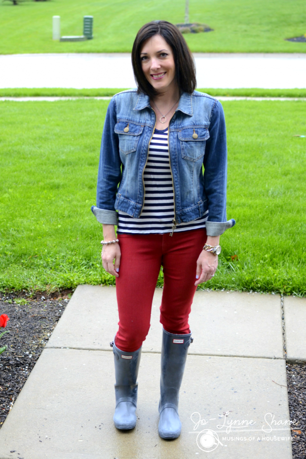 Hunter Boots with Red Jeans and Denim Jacket