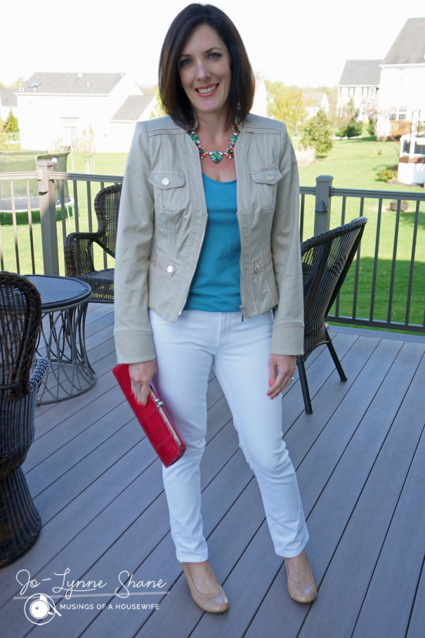 #ootd khaki jacket with white jeans and teal top
