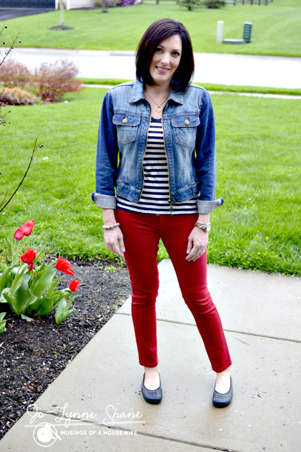 Red Jeans with Stripes and Denim