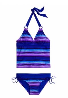 Dye Effect Stripe Tankini Swimsuit
