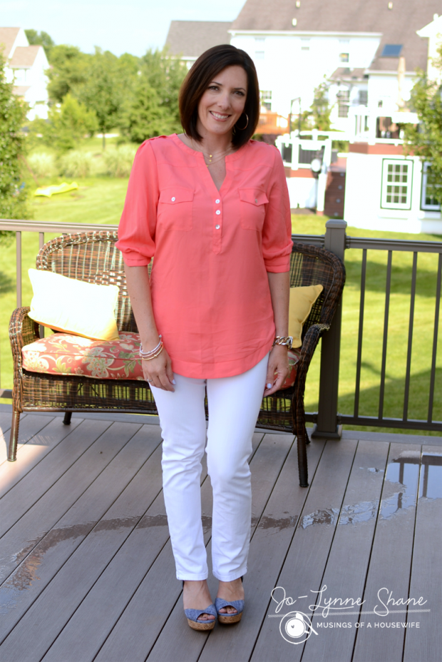 coral-blouse-with-white-jeans-and-chambray-wedge-sandals