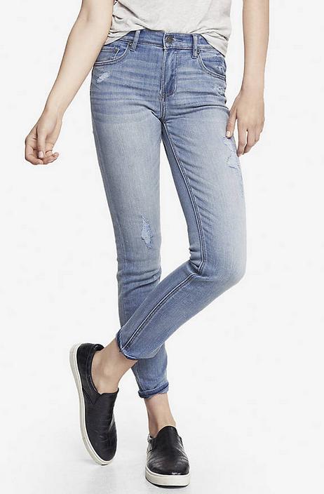 Express high waisted destructed jeans