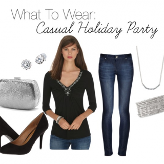 What to Wear to a Casual Holiday Party: dress up your favorite jeans with a festive top and heels!