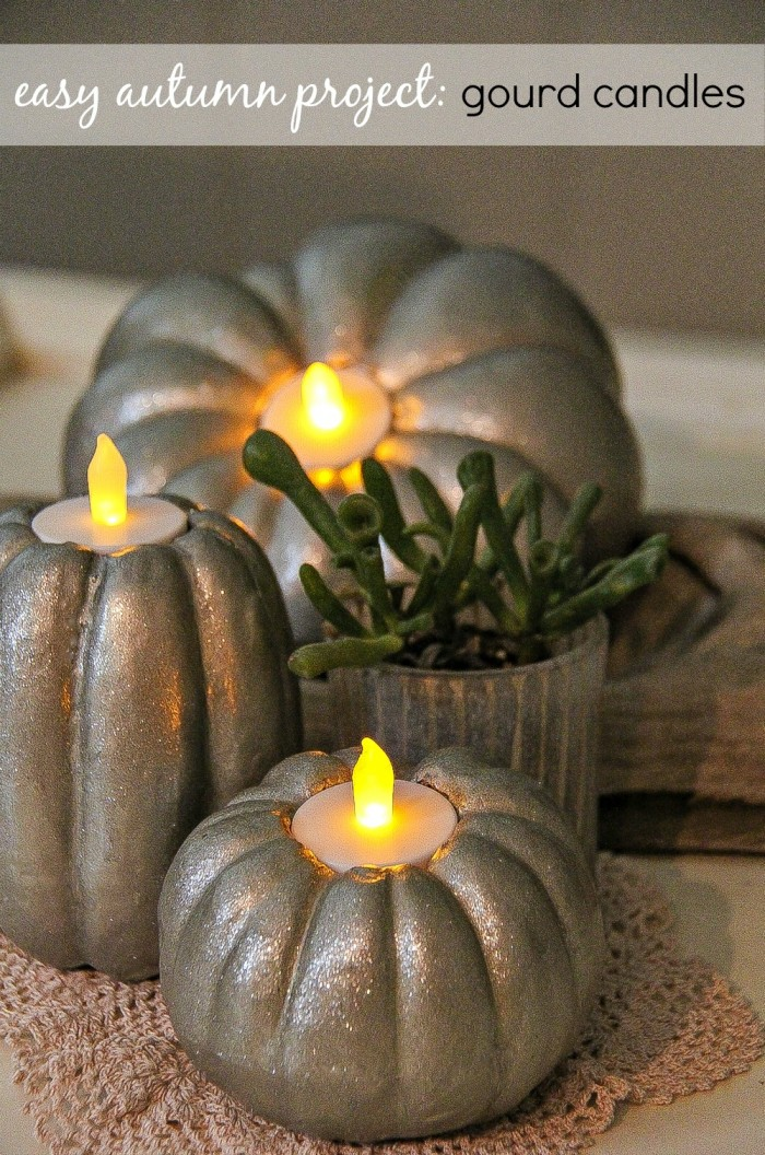 easy fall diy home decor project gourd candles - Candles Home Decor