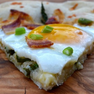 Bacon Egg and Asparagus Breakfast Pizza