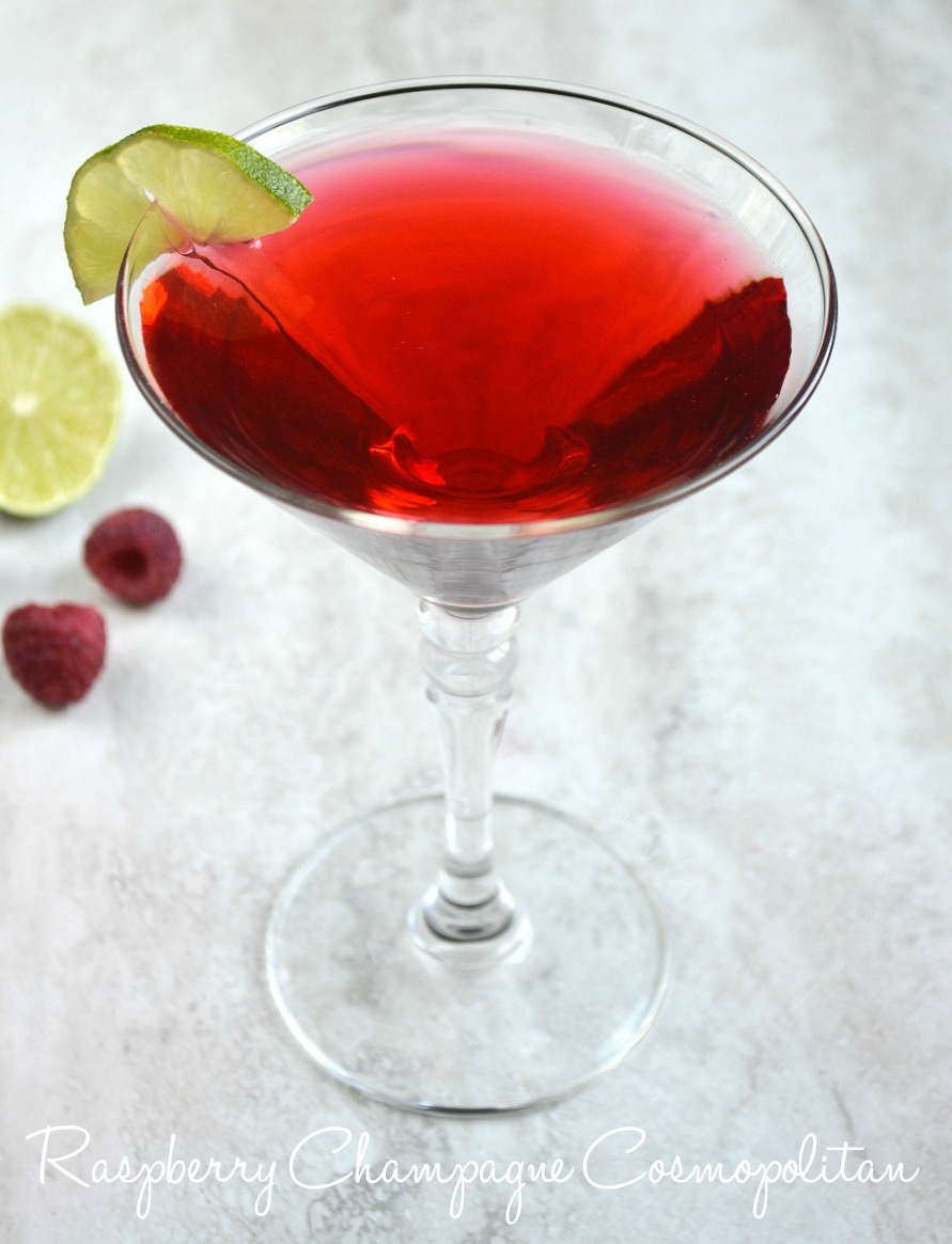 Raspberry Champagne Cosmopolitan | Take this traditional cocktail up a notch with fresh homemade raspberry juice and ice cold champagne. Perfect for Mother's Day or other summer entertaining.