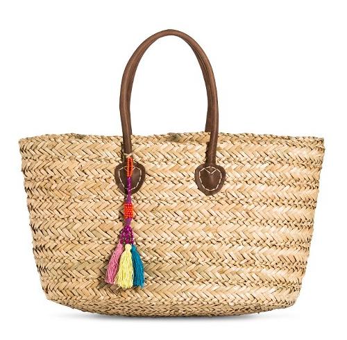 Women's Woven Straw Tote Handbag with Fringe Tassel