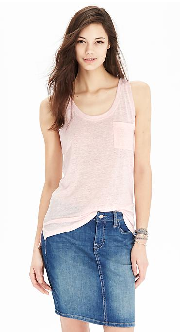 Women's Linen-Blend Boyfriend Tanks