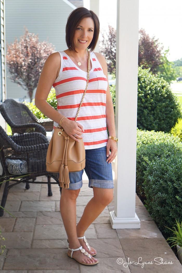 Casual Summer Outfit: Coral Striped Tank + Denim Bermuda Shorts