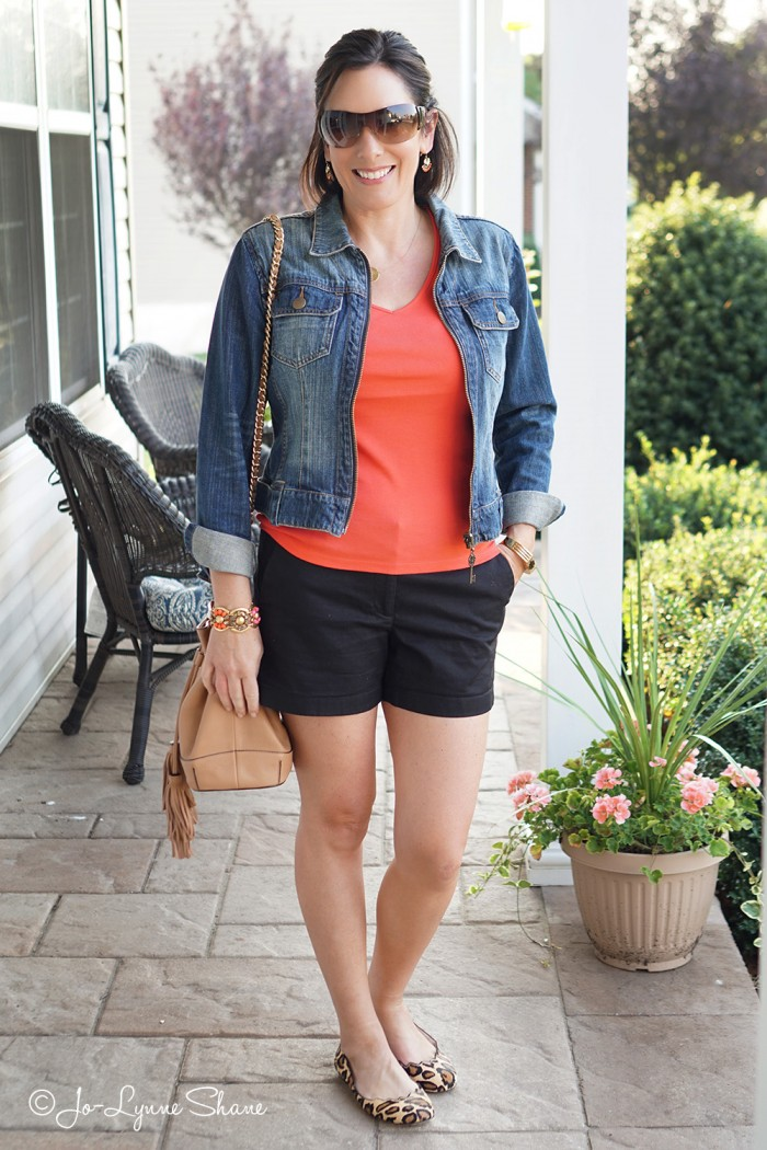 26 Days of Fall Outfits: Shorts with Ballet Flats and Jean Jacket