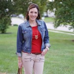 Fall Outfit Ideas: Denim + Red + Khaki