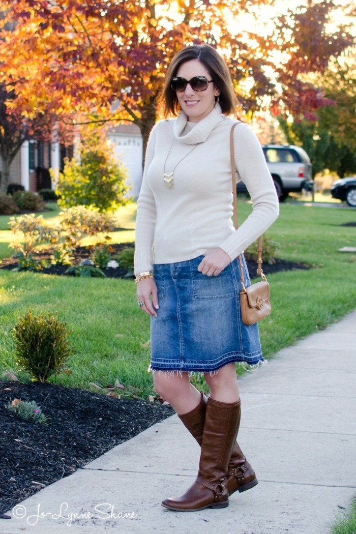 Fall Outfit Inspiration: Denim Skirt   Riding Boots