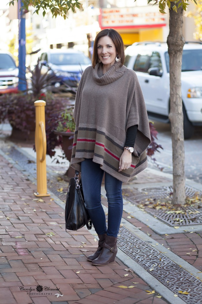 How to Wear Ankle Boots - with skinny ankle jeans tucked in and a poncho