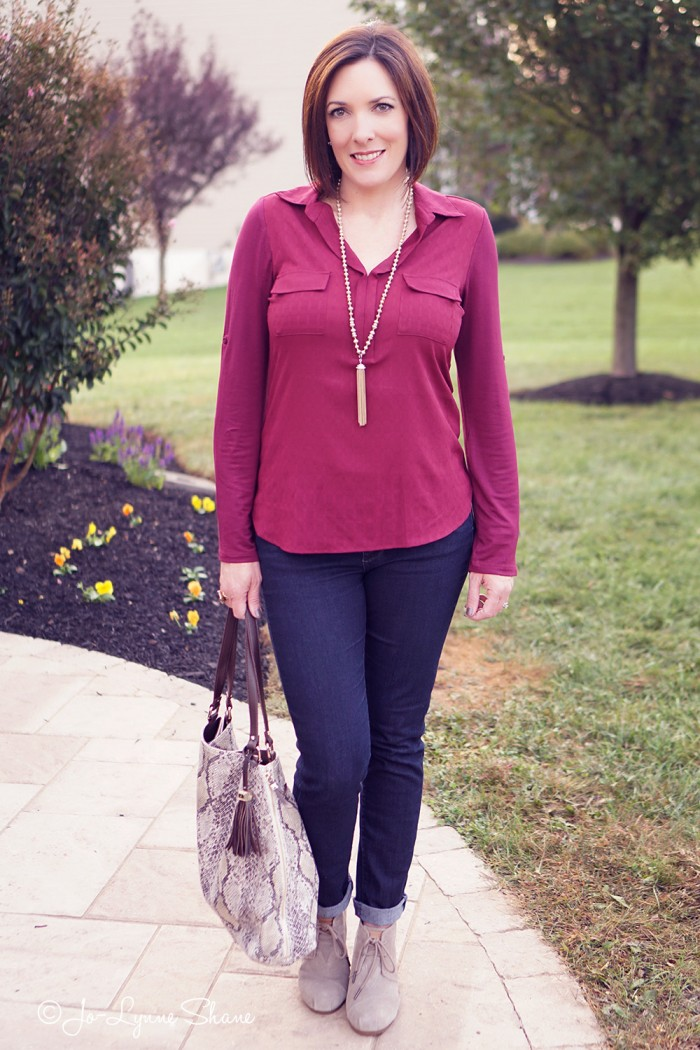 Fall Outfit: Mixed Media Top   Skinny Jeans   Ankle Boots