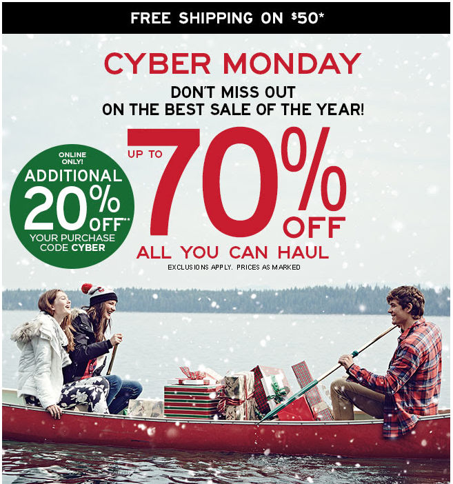 Aeropostale Cyber Monday Sale 70% Off