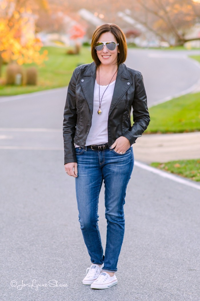 Casual Fall Outfit with Converse, Moto Jacket, AG Jeans, AG The Stilt, White Tee, Weekend Wear