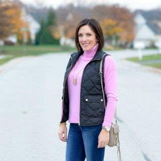 Winter Outfit Ideas: Wool Turtleneck + Quilted Vest