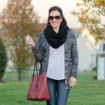 Daily Mom Style: Marled Cardigan with Infinity Scarf & Skinny Jeans