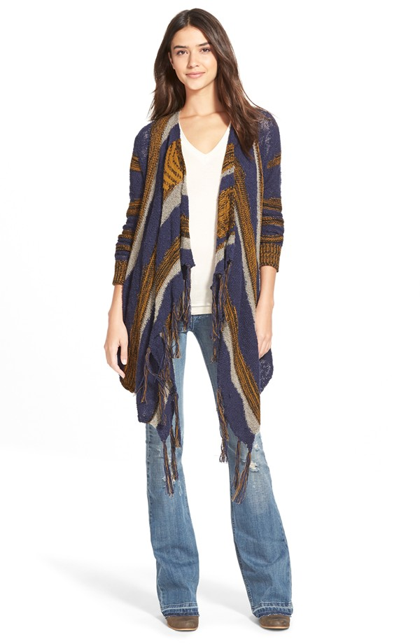 Sun & Shadow Intarsia Stripe Blanket Cardigan