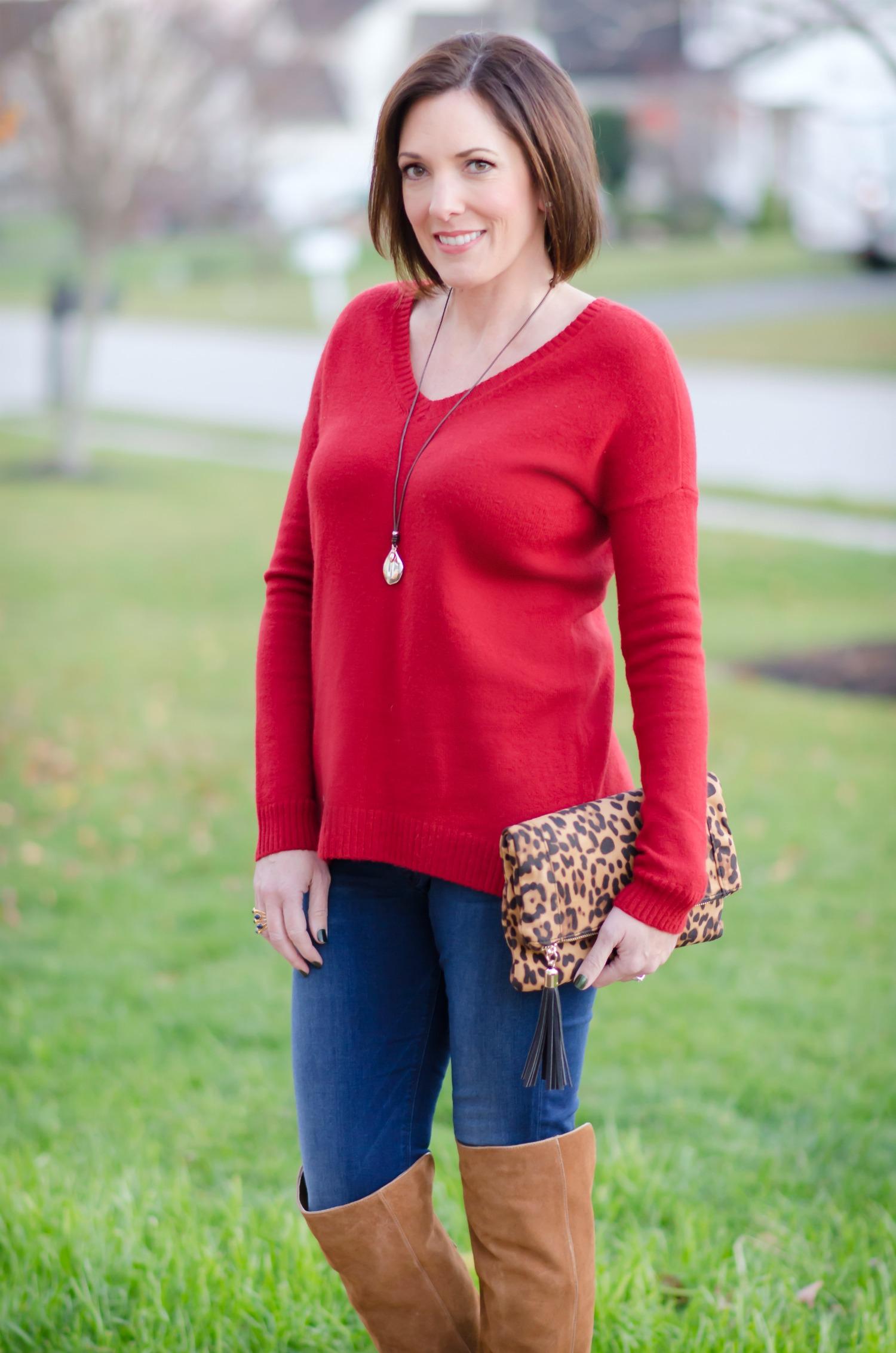 Casual Dinner Outfit: Split Back Boyfriend Sweater   OTK Boots
