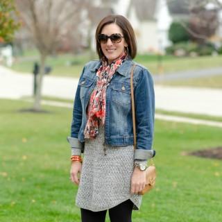 What I Wore: Sweater Dress + Denim Jacket