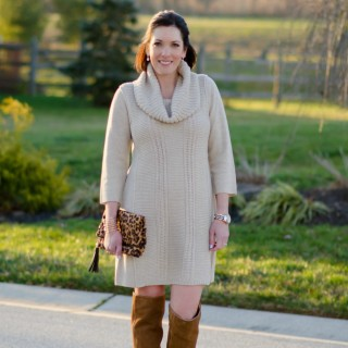 How to Wear a Sweater Dress, OTK Boots, over the knee boots, Jo-Lynne Shane, leopard clutch, Sole Society, Dolce Vita, Nordstrom, fashion blog, fashion over 40, cowl neck sweater dress, holiday outfit ideas, winter outfit ideas, Jo-Lynne Shane blog, Philadelphia mom blog, mom fashion