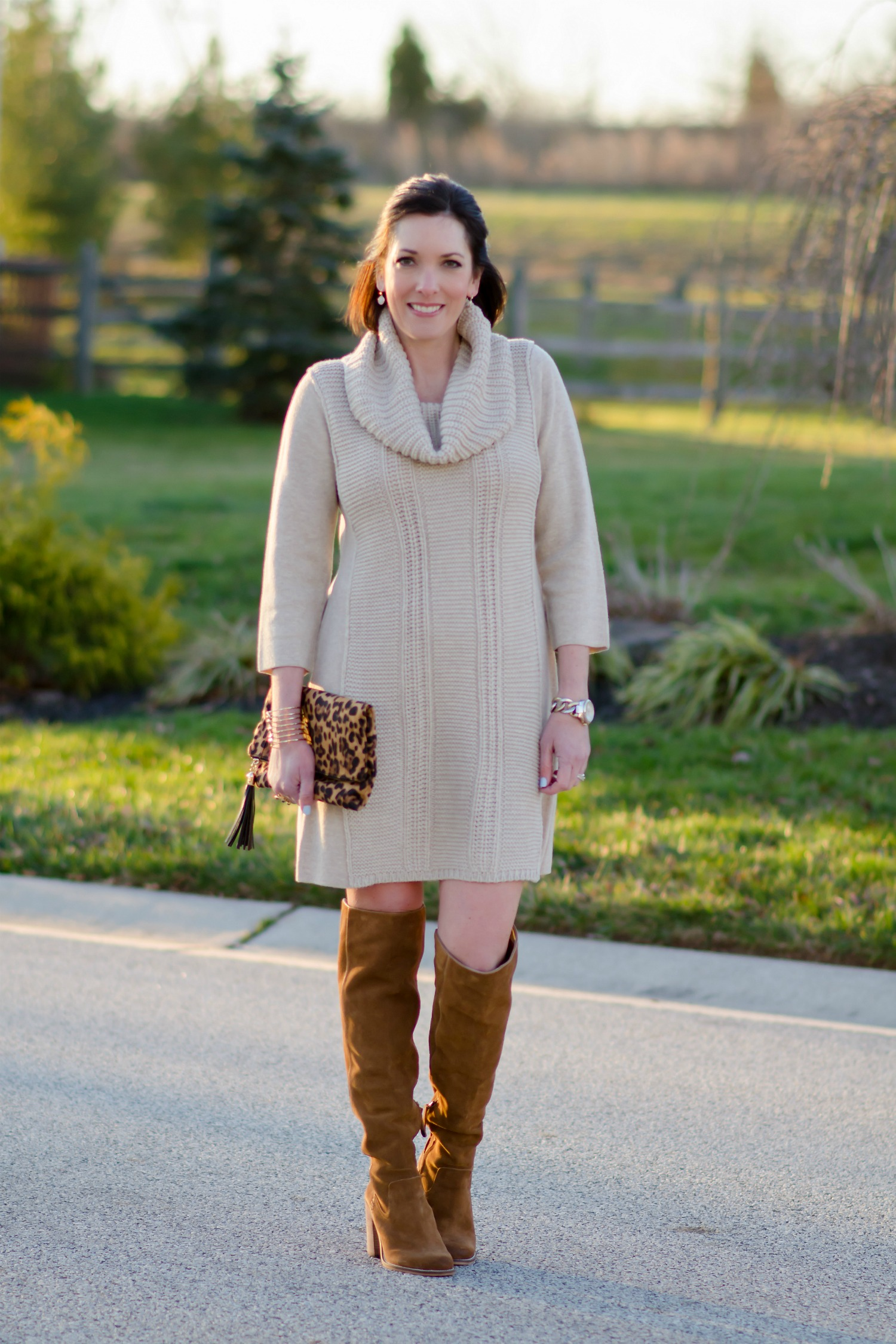 Winter Outfit Ideas Sweater Dress Otk Boots
