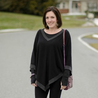 What I Wore: Color Block Poncho + Ponte Skinny Pants