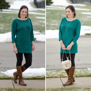 Spring Fashion Preview: Green Tunic, Leggings & Riding Boots