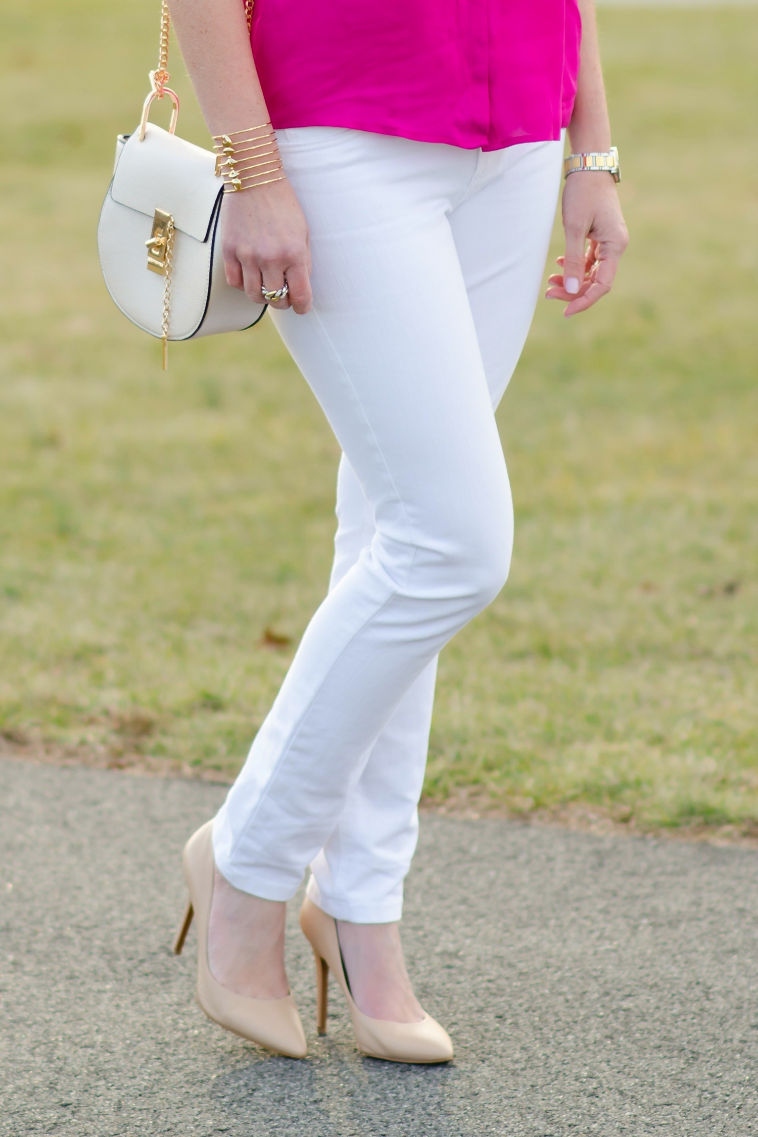 spring date night outfit pink blouse white jeans amp pumps