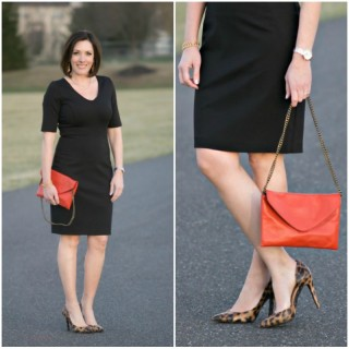 How to Accessorize a LBD: Leopard Pumps + Red Clutch