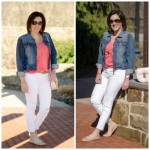 Spring Outfit Inspiration: Coral Tee + White Cropped Skinnies