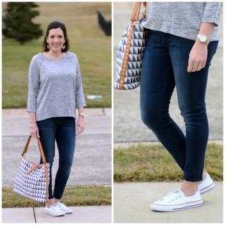Easy Weekend Wear: Striped 3/4 Sleeve Tee