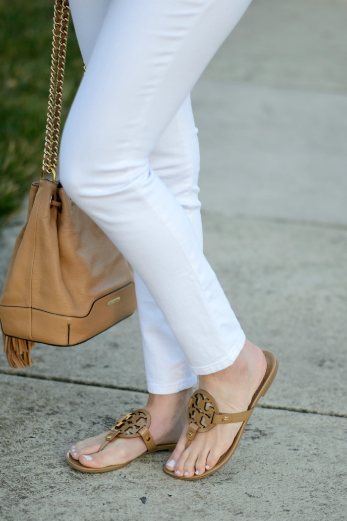 Joe's jeans with Tory Burch Miller Sandals