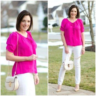 Spring Date Night Outfit: Pink Blouse, White Jeans & Pumps