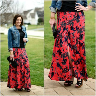 Boho Chic: Pimento Red Floral Maxi Skirt