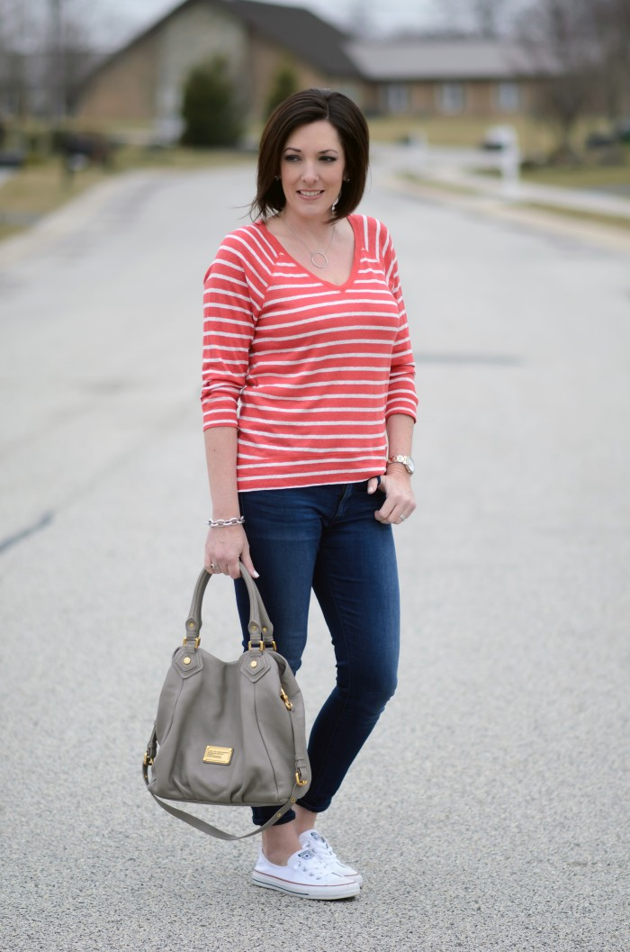 Casual Spring Outfit for Women Over 35: Striped V-Neck Pullover, Cropped Skinnies & Converse