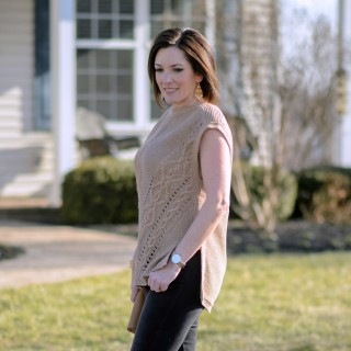 Caramel Cable Knit Poncho