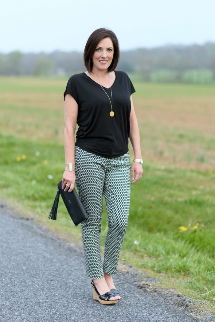 loft green pants. the mosaic pattern in these pants makes them fun, but because they\u0027re neutral loft green n