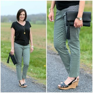 The ankle-length skinny pant is a huge trend this spring. I love this trend because you can wear them with flats or heels.