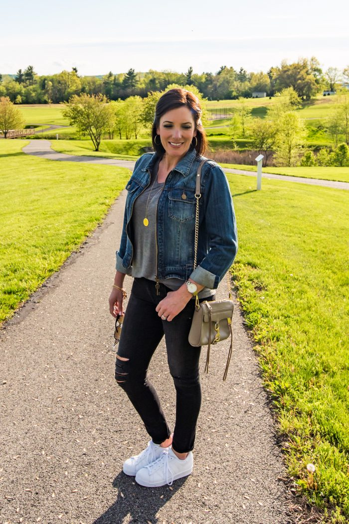 Jo-Lynne Shane rocking the athleisure trend with Adidas Superstars,  distressed black jeans,