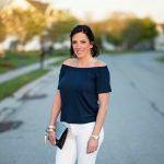 Navy & White: Styling an Off the Shoulder Top