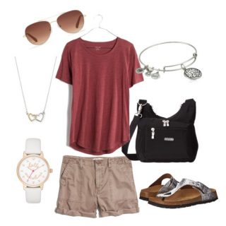 What to Wear to Disney World: Cotton Twill Shorts with Slub Knit Tee and Birks