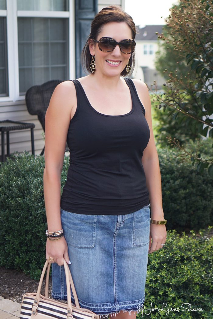 How to make a basic black tank and denim skirt look put together and chic!