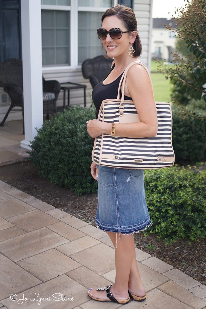 Loving this casual summer skirt and tank outfit for women over 40!