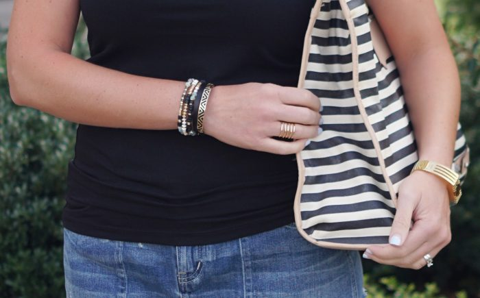 Accessorizing a simple outfit: Layering on the arm candy with Stella & Dot Artisan Stretch Bracelets and Ally Double Wrap Bracelet!