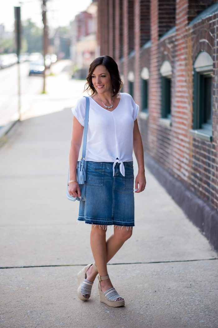 Denim Amp White Outfit With Patterned Espadrilles